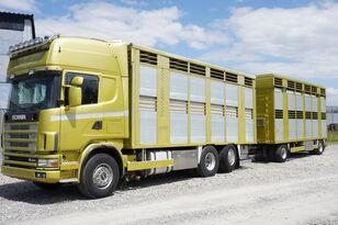 SCANIA R164 V8 , 6x2 , 2 hydraulic decks , 70m2 , live stock  livestock truck + livestock trailer
